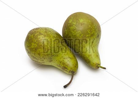 Pears On A White Background. Composition Of Pears On A White Background. Two Pears On A White Backgr