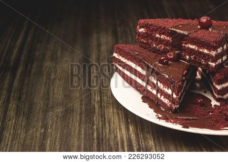 Cake With Cranberries And Cream, Poured Hot Chocolate On A Wooden Background.