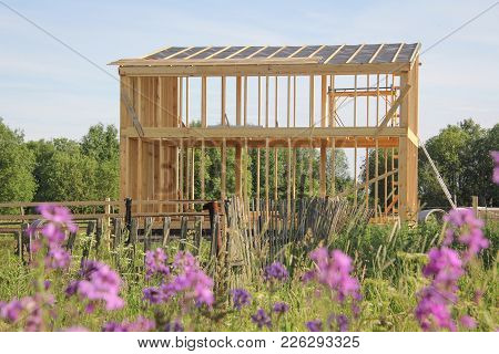 Wooden Skeleton Of The Roof Of The House Under Construction. Flowers In The Foreground