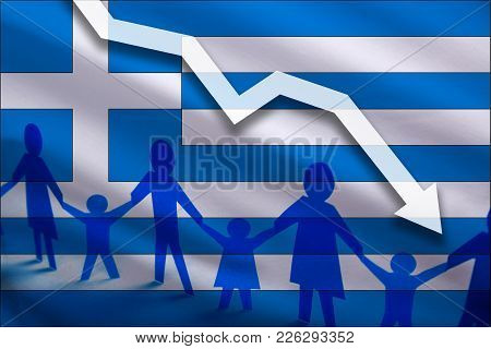 Greece Flag Background Of The Arrow Chart Down. Decrease In The Number Of The Country's Rape. Fertil