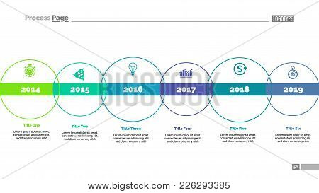 Six Circle Timeline And Size Diagram. Chart, Slide, Template. Creative Concept For Infographics, Pre