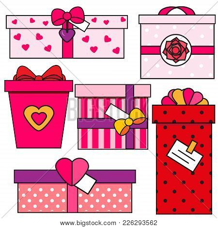 St Valentine's Day Gift Boxes. Romantic, Love Presents Set. Colorful Vector Icons