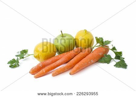 Lemon With Carrot And Green Apple On A White Background. Fruits On A White Background. Green Apples