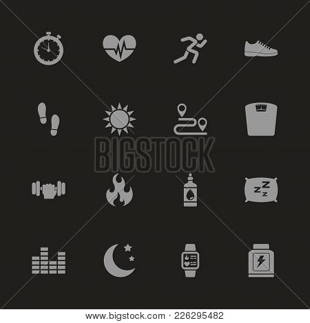 Activity Tracking Icons - Gray Symbol On Black Background. Simple Illustration. Flat Vector Icon.
