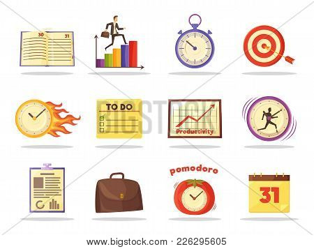 Set Of Productivity Time Management Colored Icons Vector Illustration With Varied Clocks Schedules A