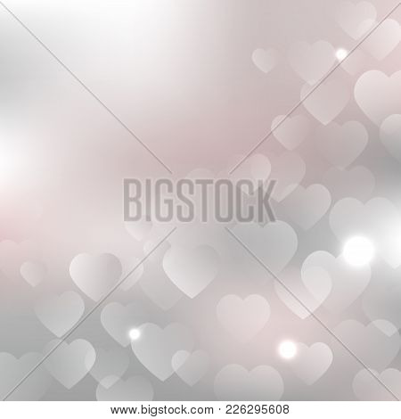 Valentines Day Background With Hearts On Silver Pink Background. Vector Design For Your Cards, Flyer