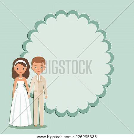 Cartoon Groom, Bride With Space For Text. Vector. Animated Wedding Characters Standing. Couple Newly
