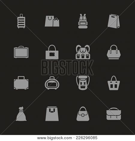 Bag Icons - Gray Symbol On Black Background. Simple Illustration. Flat Vector Icon.