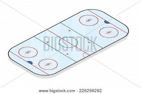 Ice Hockey Field Isolated On White Background. Vector Illustration.