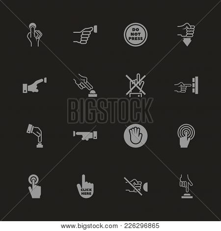 Buttons Icons - Gray Symbol On Black Background. Simple Illustration. Flat Vector Icon.