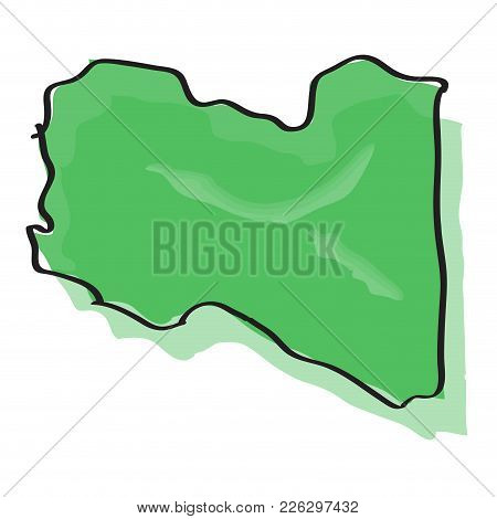 Comic Drawing Of A Map Of Libya. Vector Illustration Design