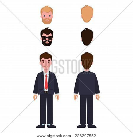 Man Constructor Set Of Cartoon Characters In Classic Suit And Tie, With Different Hairstyle And Colo