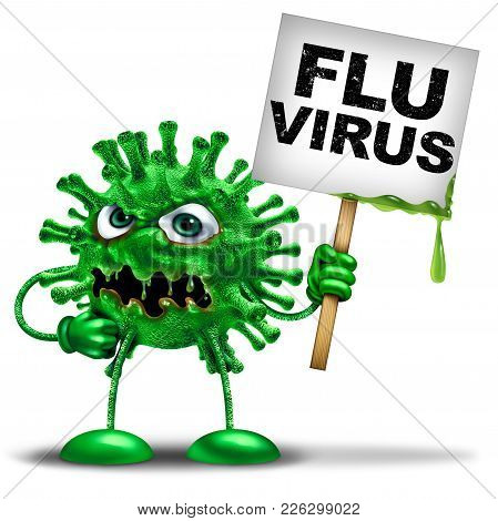 Flu Virus Flu Vaccine And Influenza Disease Health Danger Symbol As A Medical Icon Mascot Representi