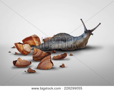 Life In Transition And Change Your Image Concept Or Lose Baggage Concept As A Snail That Has Lost It