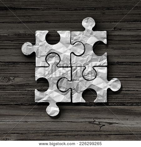 Business Puzzle Concept As An Abstract Symbol For Unity And Connection As A Jigsaw Piece Metaphor In
