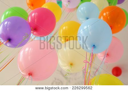 Balloon Yellow Pink Blue Red Green Orange Purple On Ribbons With Helium