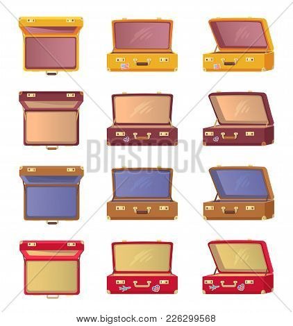 Lot Of Opened Colorful Cases Vector Illustration Of Eight Bag Patterns With Red Brown And Yellow Car