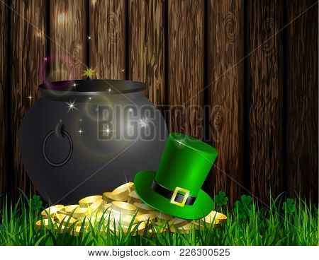 St. Patrick S Day Symbol Green Pot With Gold Coins And Leprechaun Hat On Wooden Wall Vector Illustra