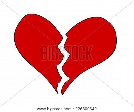 Illustration Red Broken Heart On White Background, Isolated, Vektor