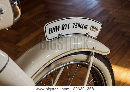 Lucni Bouda, Czech Rep - February 8, 2018. White Bmw R71 1939. Historical Motobike Bmw R71. Closeup