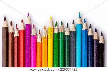 Sharpened Colored Pencils On A White Background. Color Palette