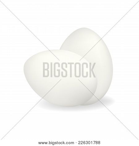 Two White Vector Realistic Chicken Eggs With Shadow Isolated On White Background. Standing And Lying