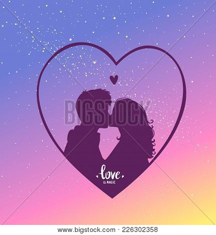 Romantic Silhouette Of Loving Couple. Valentines Day 14 February. Happy Lovers. Vector Illustration