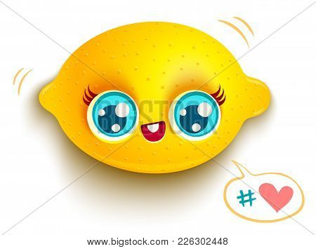 Vector Illustration Of A Cute Lemon And Bubble With Heart. Kawaii Lemon With Blue Eyes On White Back