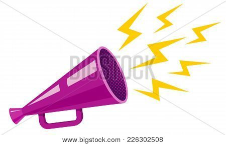 Vector Vintage Poster With Purple Megaphone. Ultraviolet Retro Megaphone.