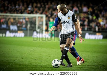 VALENCIA, SPAIN - FEBRUARY 8: Kondogbia with ball during Spanish King Cup match between Valencia CF and FC Barcelona at Mestalla Stadium on February 8, 2018 in Valencia, Spain