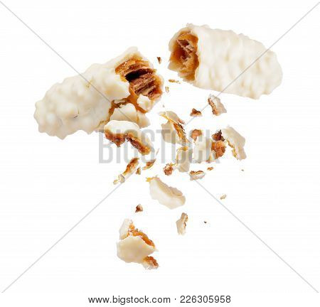 Waffle Milk Chocolate Bar With Nuts Broken Into Two Parts, Isolated On White Background