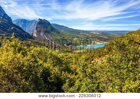 Provence, Alpes, France. Fascinating journey through the azure waters of Verdon River. Canyon and the river Verdon. Concept of ecological and active tourism