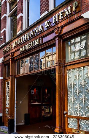 Amsterdam, The Netherlands - June 10, 2014: Marijuana Museum Entrance In Amsterdam. Cannabis In The