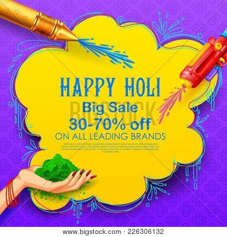 Illustration Of Colorful Happy Holi Advertisement Promotional Backgroundd For Festival Of Colors Cel
