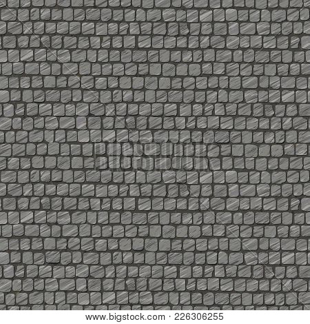 Squared Street Cobblestone Pavement. Old Fashioned. Abstract Seamless Pattern. Street Paving Stone T