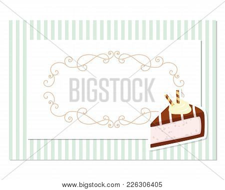 Vintage Greeting Card Template. Filigree Frame On Stripped Retro Background. For Birthday, Wedding I