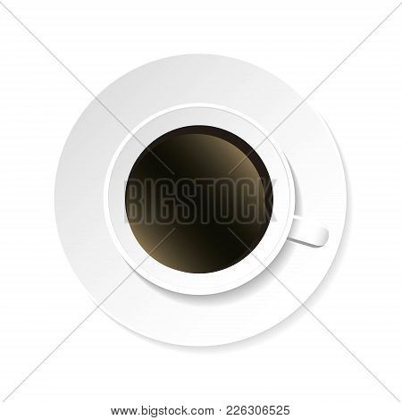 Coffee Cup And Saucer Top View Isolated On White Background. Realistic. Vector Illustration.