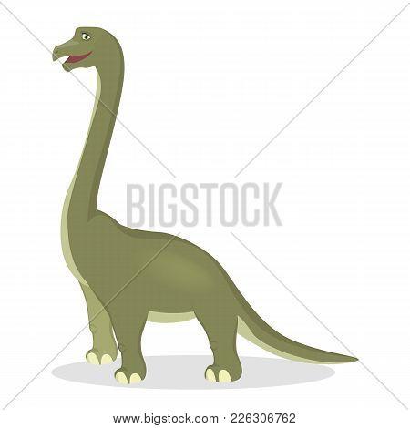 Brontosaurus Dinosaur Isolated Ancient Creature On White.