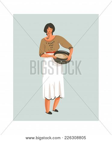 Hand Drawn Vector Abstract Modern Cartoon Cooking Time Fun Illustrations Icon With Cooking Chef Woma