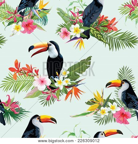 Tropical Flowers And Toucan Birds Seamless Background. Retro Summer Pattern In Vector