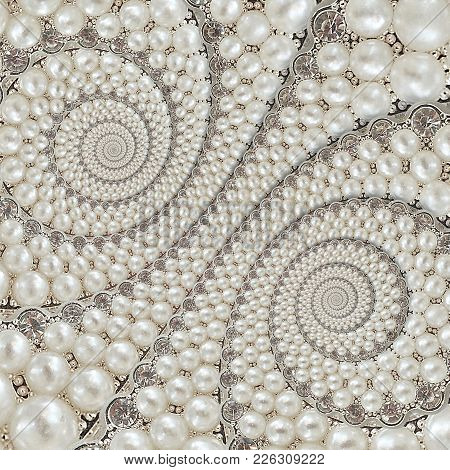 Pearls And Diamonds Jewels Abstract Spiral Background Pattern Fractal. Pearls Background, Repetitive