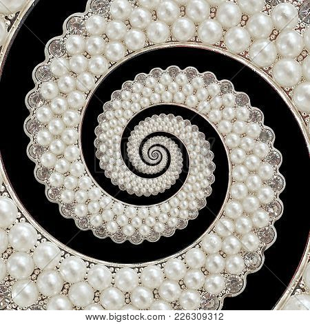Isolated On Black Pearls And Diamonds Jewels Abstract Spiral Background Pattern Fractal. Pearls Back