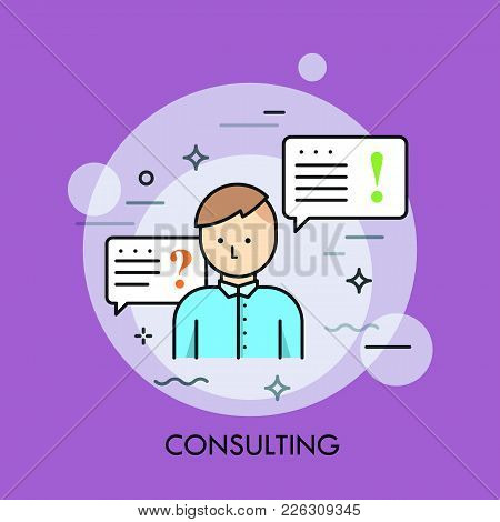 Person In Blue Shirt Or Manager And Speech Bubble With Question And Exclamation Marks. Business Cons