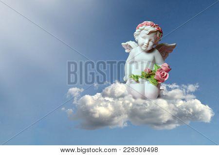 Little Guardian Angel Kneeling On The Cloud