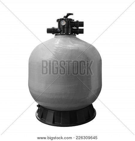 Water Filter For The Pool, Filter Unit For Cleaning Water From Mechanical Impurities, Gray Tank.