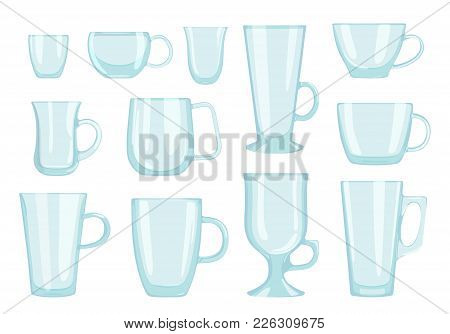 Vector Set Of Glass Cups For Hot Coffee And Tea In Flat Style On White Background. . Dishes For Rest
