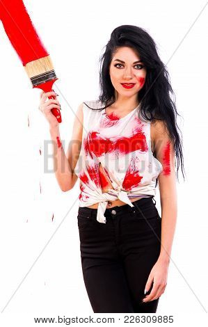 Pretty Young Woman With Brushes Isolated Over White Background