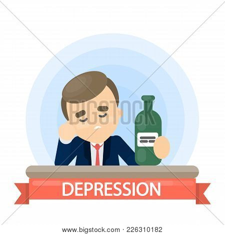 Sap Man With Alcohol Drinking In Depression.