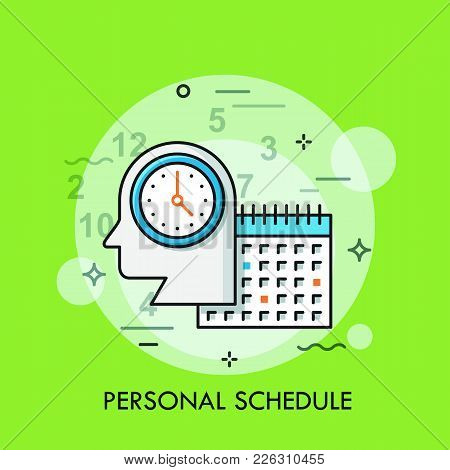 Silhouette Of Human Head With Watch And Calendar. Personal Schedule, Daily Planner, Business Appoint
