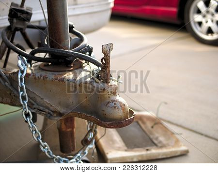 Vintage Trailer Close Up Of Tow Hitch And Chains.